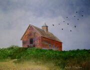 Barn and crows 8in x 10in $350.