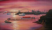 Sunset, Sydney Harbour, Australia 14in x 24in $1,500.