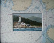 ,Point Atkinson and chart.  Oil painting 3in x 5in and chart matt 8in x 10in.  $275.
